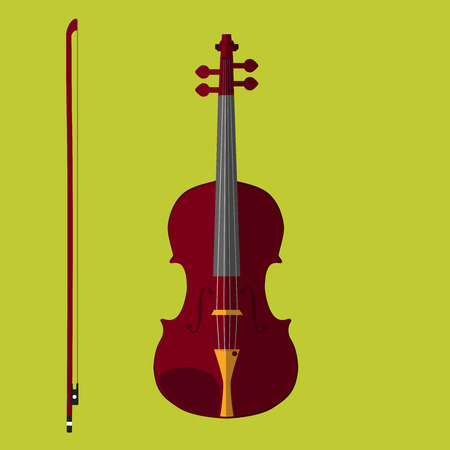 Classical violin with bow. Isolated musical instrument on lime background. Vector Illustration