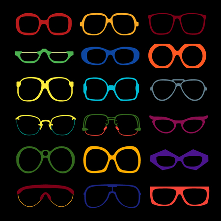optical glass: set of different colored glasses on black background. Retro, wayfarer, aviator, geek, hipster frames. Man and women eyeglasses and sunglasses silhouettes.