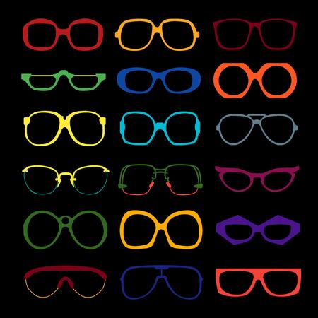 set van verschillende gekleurde bril op een zwarte achtergrond. Retro, reiziger, vliegenier, geek, hipster frames. Man en vrouw brillen en zonnebrillen silhouetten.