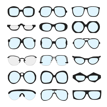 sunglasses: set of different glasses with lenses on white background. Retro, wayfarer, aviator, geek, hipster frames. Man and women eyeglasses and sunglasses silhouettes. Illustration