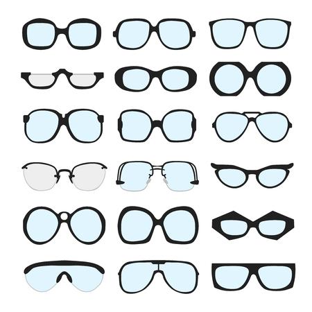 retro glasses: set of different glasses with lenses on white background. Retro, wayfarer, aviator, geek, hipster frames. Man and women eyeglasses and sunglasses silhouettes. Illustration
