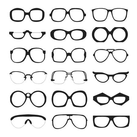 wayfarer: set of different glasses on white background. Retro, wayfarer, aviator, geek, hipster frames. Man and women eyeglasses and sunglasses silhouettes. Illustration