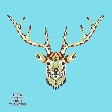 totem indiano: Zentangle testa di cervo stilizzato. Raccolta degli animali. Disegno a mano di doodle. Etnica illustrazione vettoriale fantasia. Africano, indiano, totem, tatuaggio, disegno pantaloni a vita bassa. Schizzo per tatuaggio, poster, stampe o t-shirt. Vettoriali