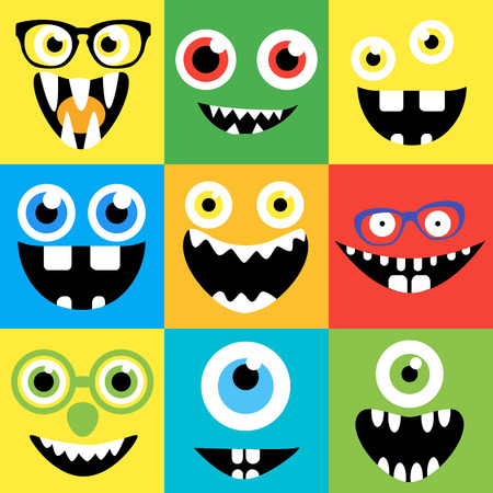 freaky: Cartoon monster faces vector set. Smiles, eyes, eyeglasses. Cute square avatars and icons.