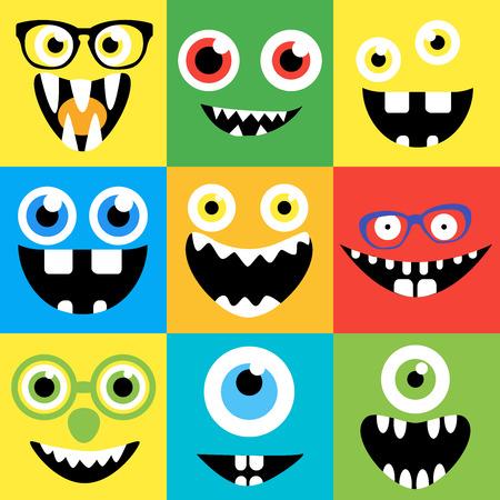 monster Cartoon gezichten vector set. Smiles, ogen, brillen. Leuke vierkante avatars en iconen. Stock Illustratie