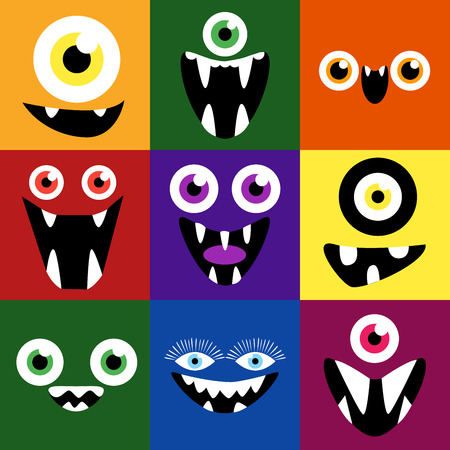 set square: Cartoon monster faces vector set. Smiles and eyes. Cute square avatars and icons