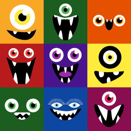Cartoon monstrum tváře vektorový soubor. Úsměvy a oči. Roztomilý čtverečních avatary a ikony