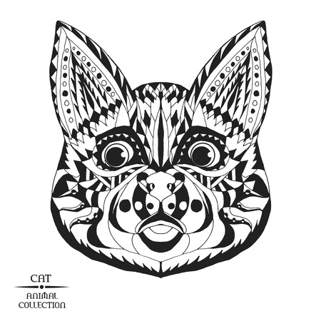 clipart animals:  Animal collection. Black and white hand drawn doodle. Ethnic patterned vector illustration. African, indian totem design. Sketch for tattoo, poster, print, bag or t-shirt. Illustration