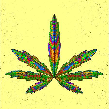 totem indiano: foglia di marijuana stilizzata. Mano isolata Doodle disegnato. Etnica illustrazione vettoriale fantasia di cannabis. Africano, indiano, totem, progettazione tatoo. Schizzo per tatuaggio, poster, stampe o t-shirt. Vettoriali