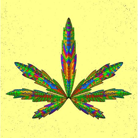 cannabis sativa: stylized marijuana leaf. Isolated hand drawn doodle. Ethnic patterned vector illustration of cannabis. African, indian, totem, tatoo design. Sketch for tattoo, posters, prints or t-shirt.