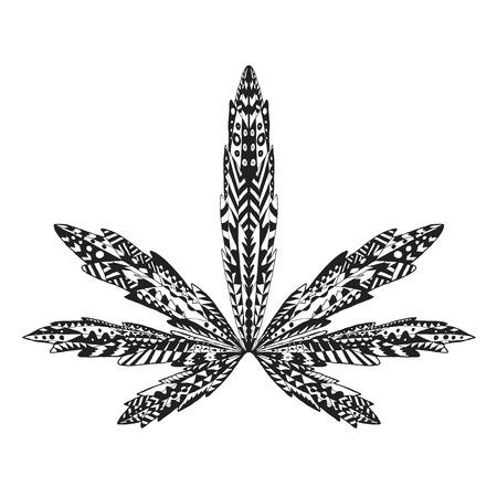 様式化されたマリファナの葉。分離手描き落書き。大麻の民族模様のベクター イラストです。アフリカ、インド、トーテム、タトゥーのデザイン。