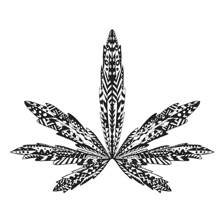 stylized marijuana leaf. Isolated hand drawn doodle. Ethnic patterned vector illustration of cannabis. African, indian, totem, tatoo design. Sketch for tattoo, posters, prints or t-shirt.