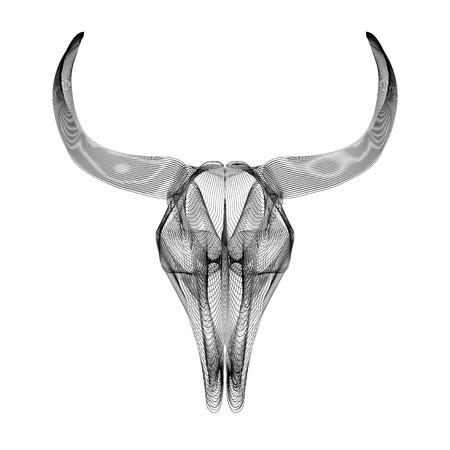 tatto: Bull skull. 3d style vector illustration for prints, bag, tatto or t-shirt.
