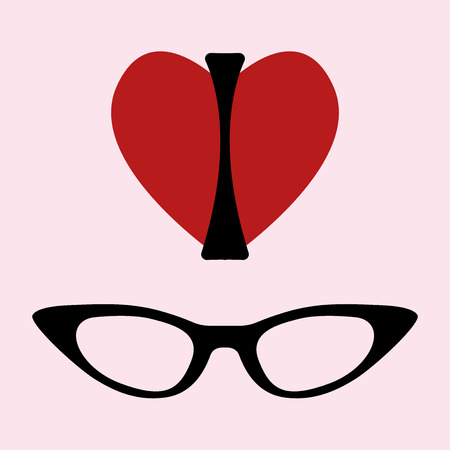 cat eye: I love glasses print. Silhouette of a women, shape of a heart and cat eye glasses frame. Vector illustration on pink background. For t-shirt, posters, bags.