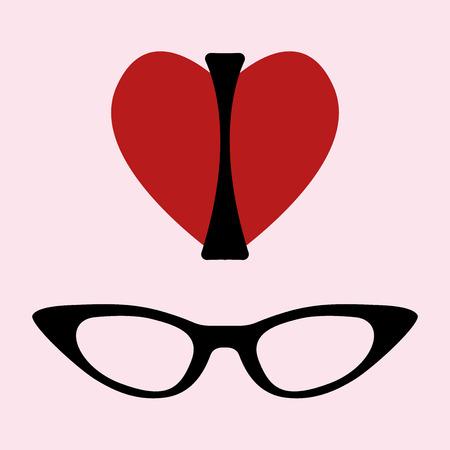 ojo de gato: Me encantan las gafas de impresi�n. Silueta de una mujer, la forma de un marco del coraz�n y los vasos del ojo de gato. Ilustraci�n vectorial sobre fondo rosa. Por la camiseta, carteles, bolsas.