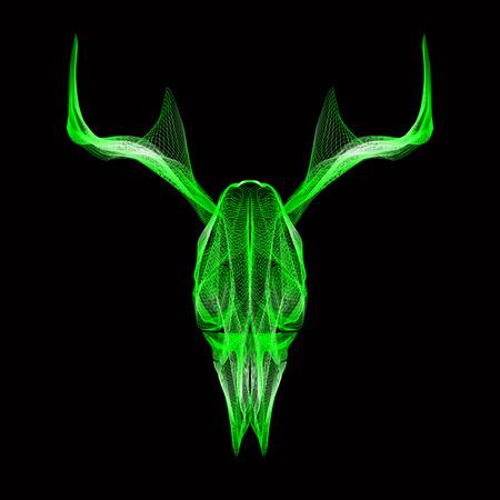 deer skull: Deer skull. 3d style vector illustration for prints, bag, tatto or t-shirt. Illustration