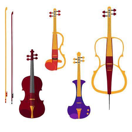 instrumentos musicales: Conjunto de diversos violines. Violín clásico, violín eléctrico y violonchelo con arcos. Instrumentos musicales aislados en el backgound blanco. Ilustración vectorial de diseño de estilo plana. Vectores