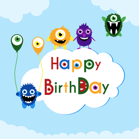 happy birtday: Birthday greeting card with cute monsters on a cloud. Illustration
