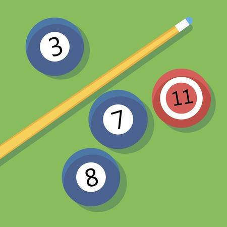 cue: Vector illustration of billiards. EPS 10. Pill. Cue and balls. Illustration