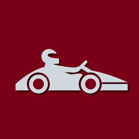 Kart with driver icon. Vector illustration Illustration
