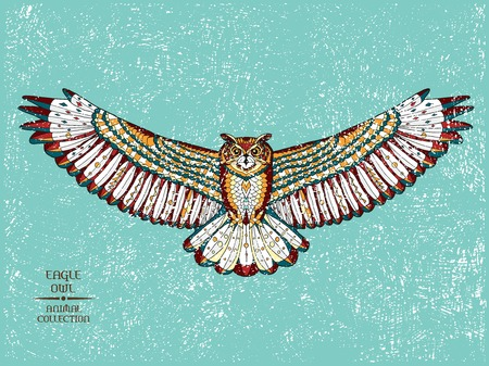 Zentangle stylized eagle owl. Animal collection. Hand drawn doodle. Ethnic patterned vector illustration. African, indian, totem, tatoo design. Sketch for tattoo, posters, prints or t-shirt.