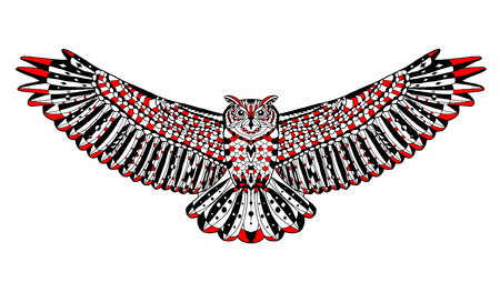 eagle owl: Zentangle stylized eagle owl. Animal collection. Hand drawn doodle. Ethnic patterned vector illustration. African, indian, totem, tatoo design. Sketch for tattoo, posters, prints or t-shirt.