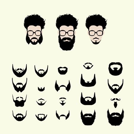 벡터 생성자를 위로 옷을 입으십시오. 다른 남자 hipster 괴짜 스타일 이발, 안경, 수염, 콧수염 얼굴. Silhoutte 아이콘 생성 키트. 소셜 미디어 또는 웹 사 일러스트