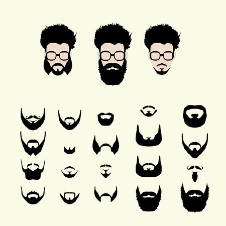 Vector set of dress up constructor. Different men faces hipster geek style haircut, glasses, beard, mustache. Silhoutte icon creation kit. Design flat avatar for social media or web site