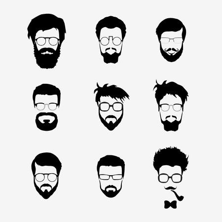 Vector set van dress up constructeur. Verschillende mannen gezichten hipster geek stijl kapsel, bril, baard, snor, bowtie, pijp. Silhouet pictogram creatie kit. Ontwerpen platte avatar voor sociale media of website