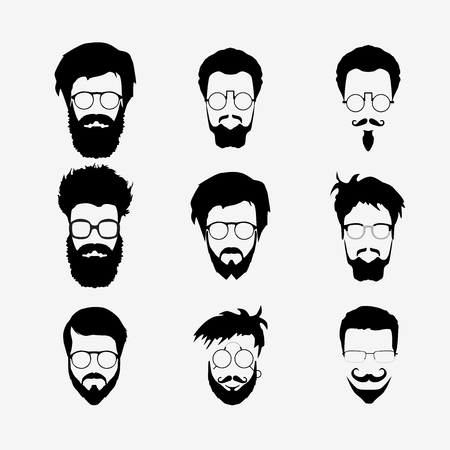 kit design: Vector set of dress up constructor. Different men faces hipster geek style haircut, glasses, beard, mustache, bowtie, pipe. Silhoutte icon creation kit. Design flat avatar for social media or web site