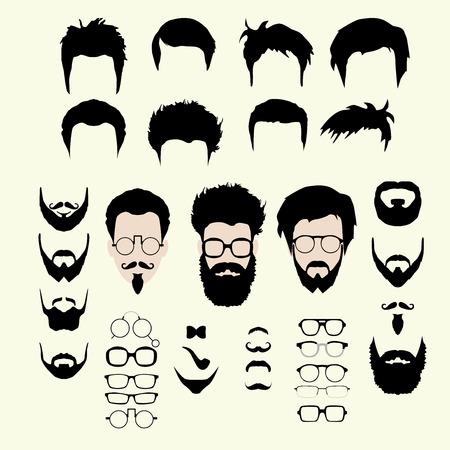 Vector conjunto de vestir constructor. Diferentes hombres caras inconformista corte de pelo estilo friki, gafas, barba, bigote, pajarita, tubería. Icono Silhoutte kit de creación. Diseñar avatar plana de los medios sociales o sitio web Foto de archivo - 44327980