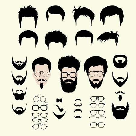 Vector set of dress up constructor. Different men faces hipster geek style haircut, glasses, beard, mustache, bowtie, pipe. Silhoutte icon creation kit. Design flat avatar for social media or web site