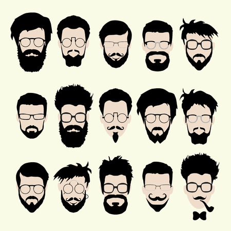 handsome man face: Vector set of dress up constructor. Different men faces hipster geek style haircut, glasses, beard, mustache, bowtie, pipe. Silhoutte icon creation kit. Design flat avatar for social media or web site