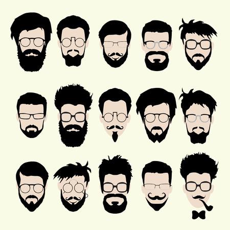 Vektor-Reihe von dress up-Konstruktor. Verschiedenen Männern Gesichter hipster Aussenseiterart Haarschnitt, Brille, Vollbart, Schnurrbart, bowtie, Rohr. Silhoutte Symbol Creation Kit. Entwerfen flach avatar für Social Media oder Web-Site Vektorgrafik