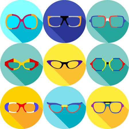 eyeglass: Super hero mask glasses collection. Flat style avatar icon. Colorful vector illustration eps 8. Man and women, retro, wayfarer, aviator, geek, hipster eyeglasses frames in different character colors.