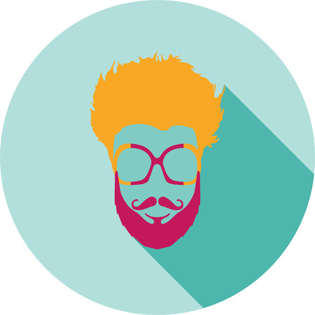 eye protectors: Super hero mask glasses collection. Flat style avatar icon. Colorful vector illustration eps 8. Geek, hipster eyeglasses frames, beard, hairstyles, moustache in different character colors. Illustration