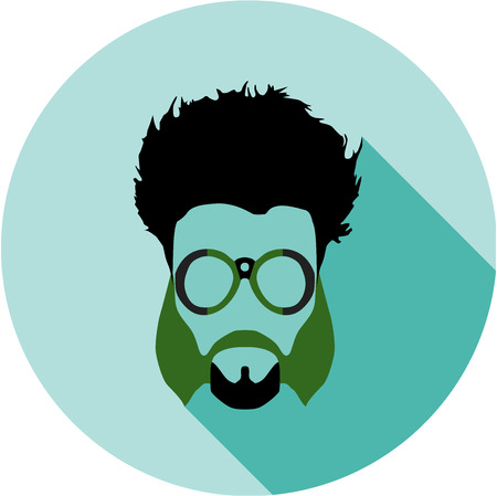 hair mask: Super hero mask glasses collection. Flat style avatar icon. Colorful vector illustration eps 8. Geek, hipster eyeglasses frames, beard, hairstyles, moustache in different character colors. Illustration