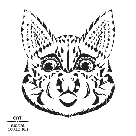black silhouette: Zentangle stylized cat head. Animal collection. Black and white hand drawn doodle. Ethnic patterned vector illustration. African, indian totem design. Sketch for tattoo, poster, print, bag or t-shirt.