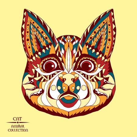 totem indiano: Zentangle testa di gatto stilizzato. Raccolta degli animali. Disegno a mano di doodle. Etnica illustrazione vettoriale fantasia. Africano, indiano, disegno totem. Sketch per il tatuaggio, manifesti, stampe, borsa o t-shirt.