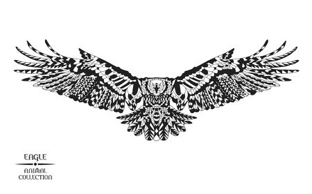 hawks:  stylized eagle. Animal collection. Black and white hand drawn doodle. Ethnic patterned vector illustration. African, indian, totem tatoo design. Sketch for tattoo, poster, print or t-shirt.