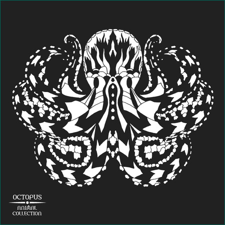 black octopus:  stylized octopus. Animal collection. Black and white hand drawn doodle. Ethnic patterned vector illustration. African, indian, totem tatoo design. Sketch for tattoo, poster, print or t-shirt
