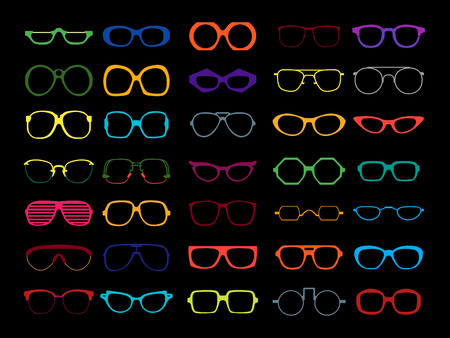 Vector set of different colorful glasses on black background. Retro, wayfarer, aviator, geek, hipster frames. Man and women eyeglasses and sunglasses silhouettes. Vettoriali