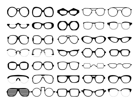 Vector set of different glasses on white background. Retro, wayfarer, aviator, geek, hipster frames. Man and women eyeglasses and sunglasses silhouettes.