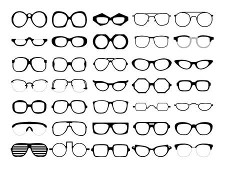 vidrio: Conjunto de vectores de diferentes vidrios en el fondo blanco. Marcos retro, caminante, aviador, friki, inconformista. El hombre y la mujer anteojos y gafas de sol siluetas.
