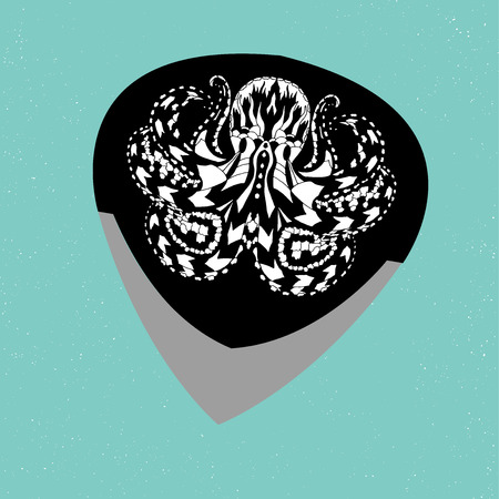 plectrum: Guitar pick. Colorful illustration of musical plectrum silhouette. String instruments accessories with metal rock illustration of tribal ethnic octopus ctulhu.