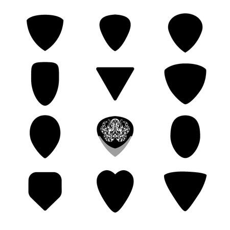 Guitar picks. Custom shapes, different types of musical plectrum silhouette. Big vector set  EPS 8 on white background. String instruments accessories with metal rock illustration of tribal octopus. Illustration