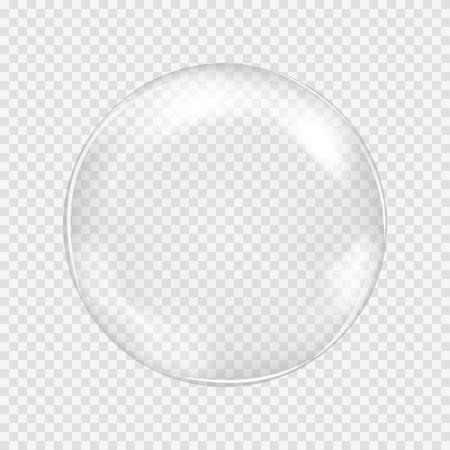Big white transparent glass sphere with glares and highlights. White pearl. Vector illustration, contains transparencies, gradients and effects Иллюстрация
