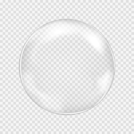 Gran blanco esfera de cristal transparente con brillos y luces. Perla blanca. Ilustración vectorial, contiene transparencias, gradientes y efectos