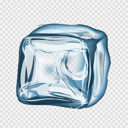 refrigerate: Transparent ice cube in blue colors on light gray background. Vector illustration EPS 10.