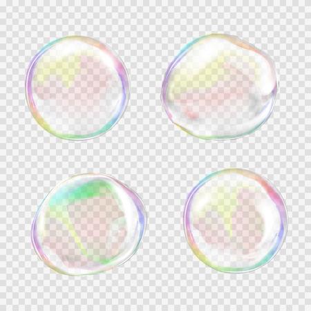 burbujas jabon: Conjunto de burbujas de jabón transparente multicolor con miradas, luces y degradados. Formas y colores personalizados. Vectores